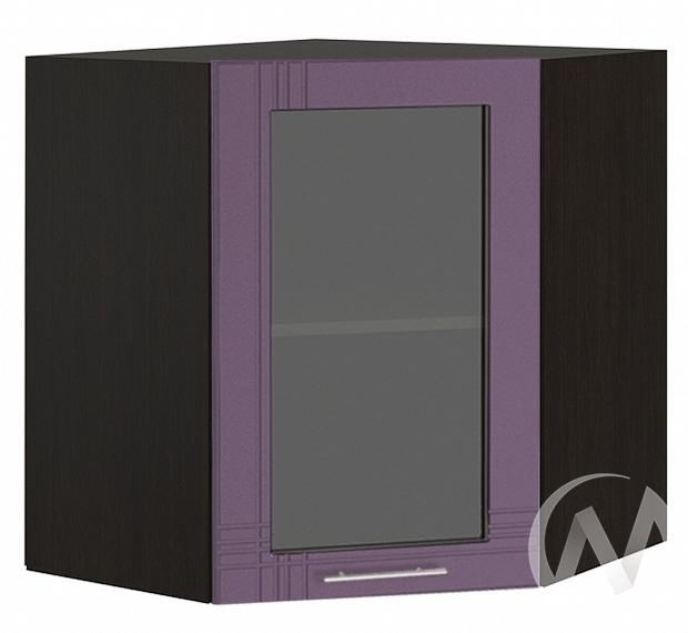 """Кухня """"Струна"""": Шкаф верхний угловой со стеклом 590, ШВУС 590 (фиолетовый металлик/корпус венге)"""
