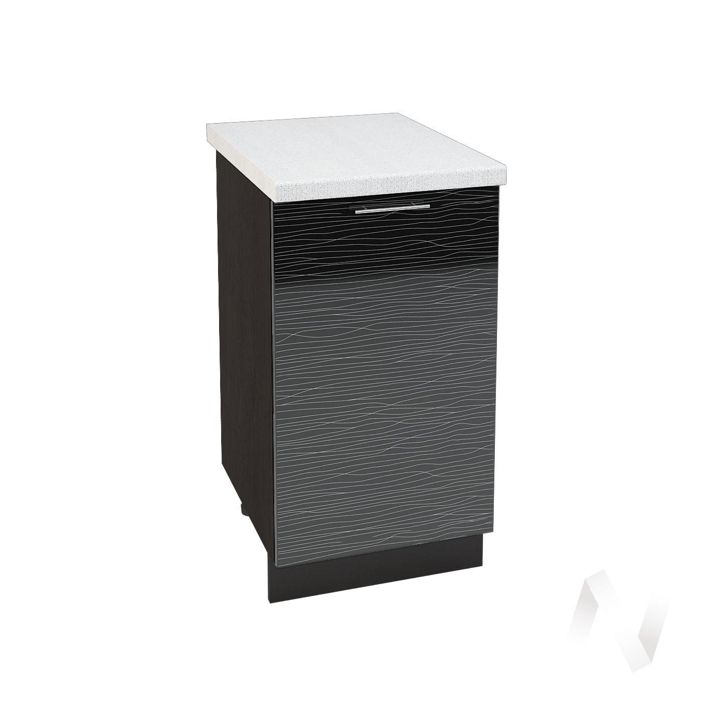 """Кухня """"Валерия-М"""": Шкаф нижний 450, ШН 450 (Страйп черный/корпус венге)"""