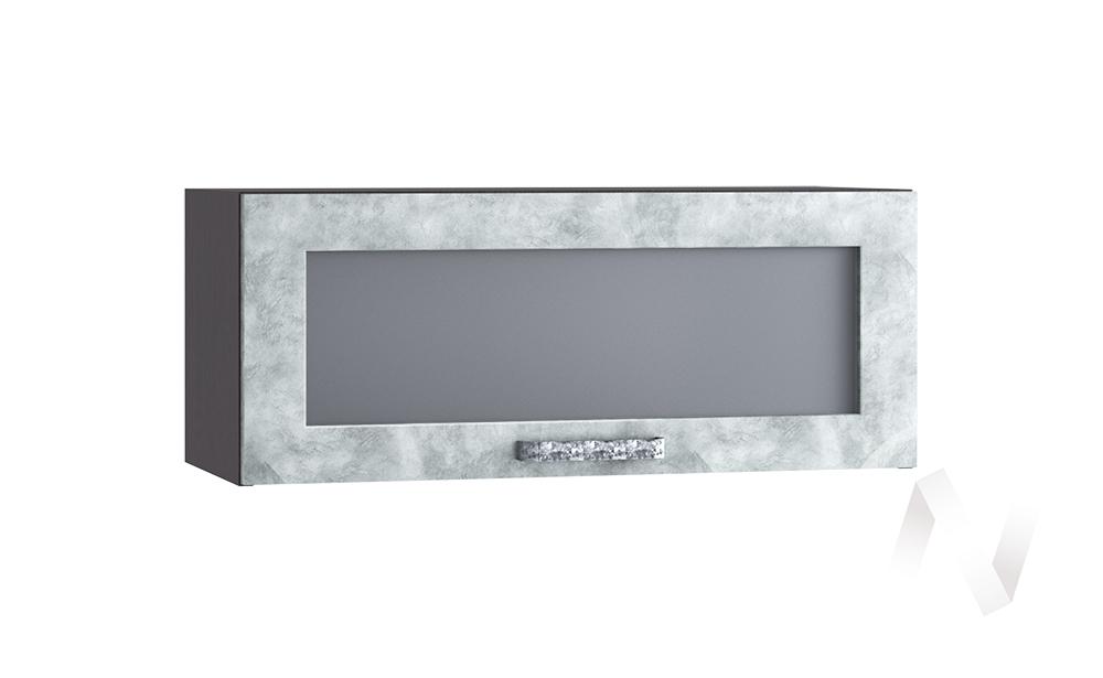 """Кухня """"Лофт"""": Шкаф верхний горизонтальный со стеклом 800, ШВГС 800 (Бетон серый/корпус венге)"""