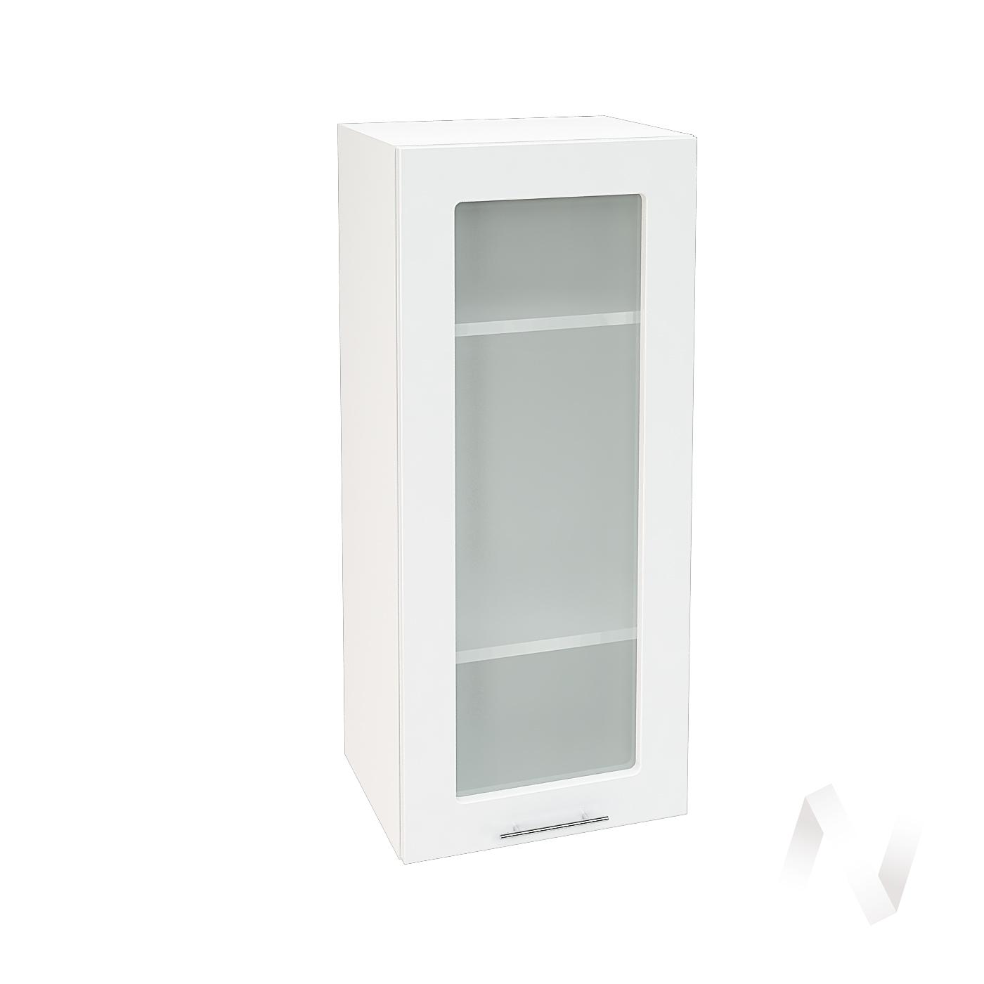 """Кухня """"Валерия-М"""": Шкаф верхний со стеклом 409, ШВС 409 (белый гленец/корпус белый)"""