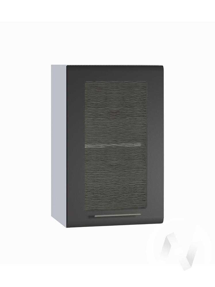 "Кухня ""Люкс"": Шкаф верхний со стеклом 400, ШВС 400 (Шелк венге/корпус белый)"