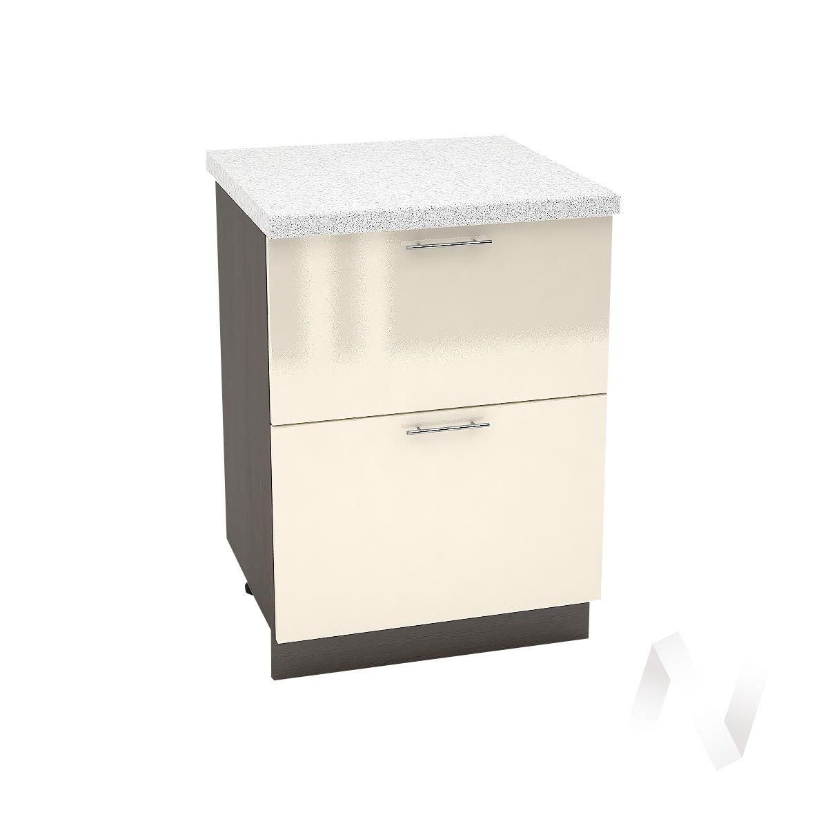 "Кухня ""Валерия-М"": Шкаф нижний с 2-мя ящиками 600, ШН2Я 600 (Ваниль глянец/корпус венге) УТ-000274"