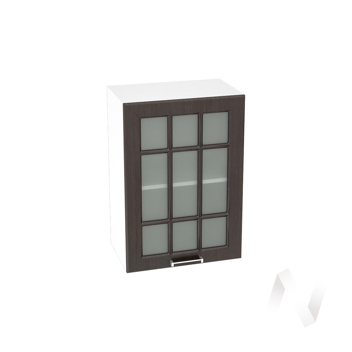 """Кухня """"Прага"""": Шкаф верхний со стеклом 500, ШВС 500 (венге/корпус белый)"""