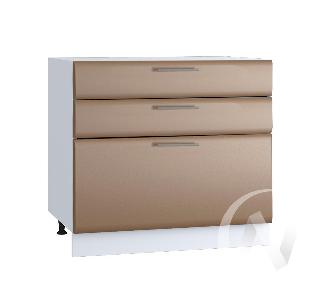 """Кухня """"Люкс"""": Шкаф нижний с 3-мя ящиками 800, ШН3Я 800 (Шоколад матовый/корпус белый)"""