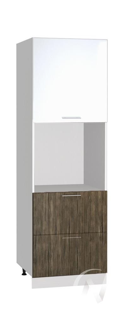 """Кухня """"Норден"""": Шкаф пенал с 2-мя ящиками 600, ШП2Я 600 (старое дерево/белый глянец/корпус белый)"""