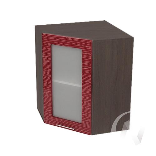 """Кухня """"Валерия-М"""": Шкаф верхний угловой со стеклом 590, ШВУС 590 (Страйп красный/корпус венге)"""