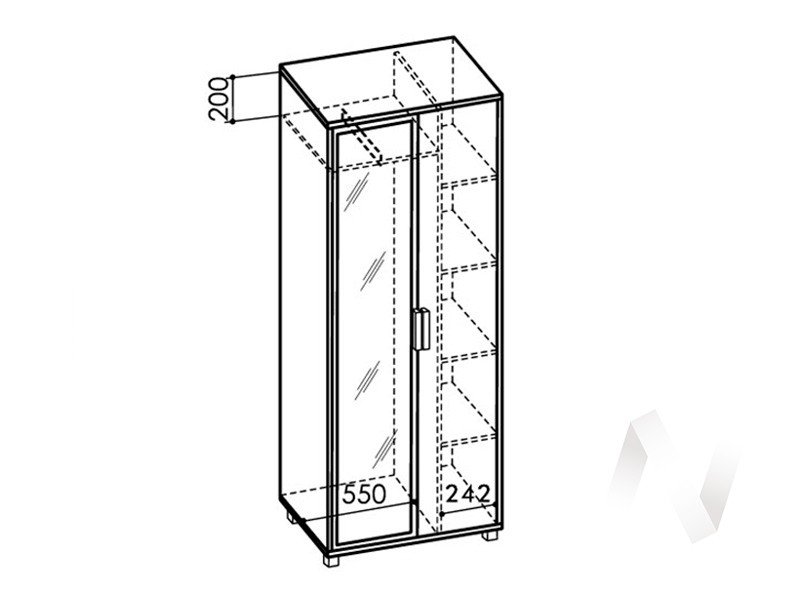 Шкаф 800 зеркало №5 WEST (ясень шимо темный/ясень шимо светлый)