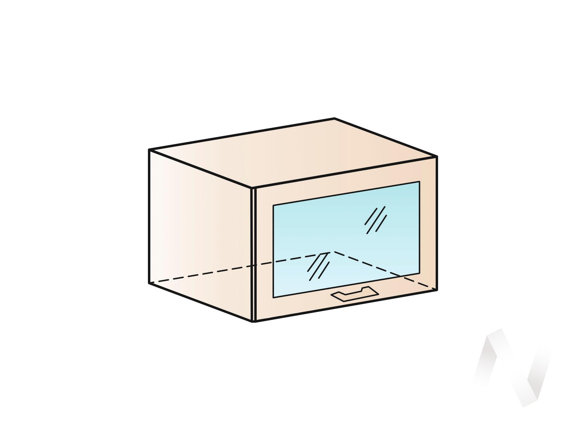 """Кухня """"Люкс"""": Шкаф верхний горизонтальный со стеклом 600, ШВГС 600 (Шелк жемчуг/корпус белый) в Новосибирске в интернет-магазине мебели kuhnya54.ru"""