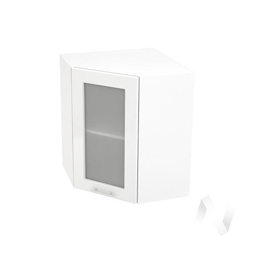 """Кухня """"Вега"""": Шкаф верхний угловой со стеклом 590, ШВУС 590 (белый металлик/корпус белый)"""