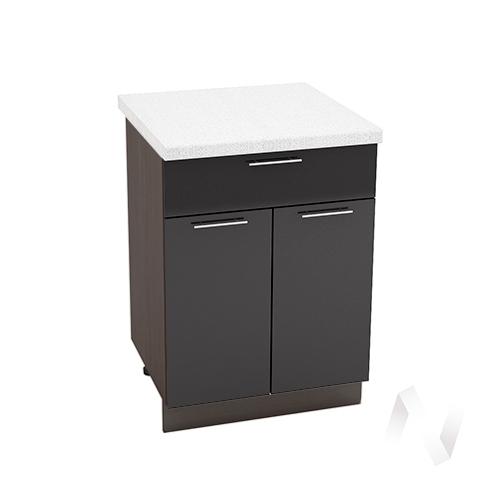 """Кухня """"Валерия-М"""": Шкаф нижний с ящиком 600, ШН1Я 600 М (черный металлик/корпус венге)"""