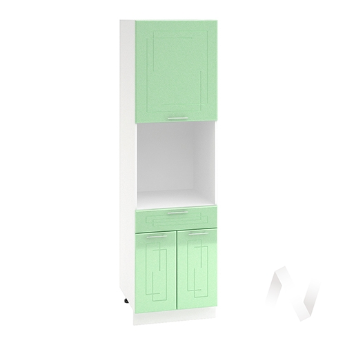 """Кухня """"Вега"""": Шкаф пенал с ящиком 600, ШП1Я 600 (салатовый металлик/корпус белый)"""