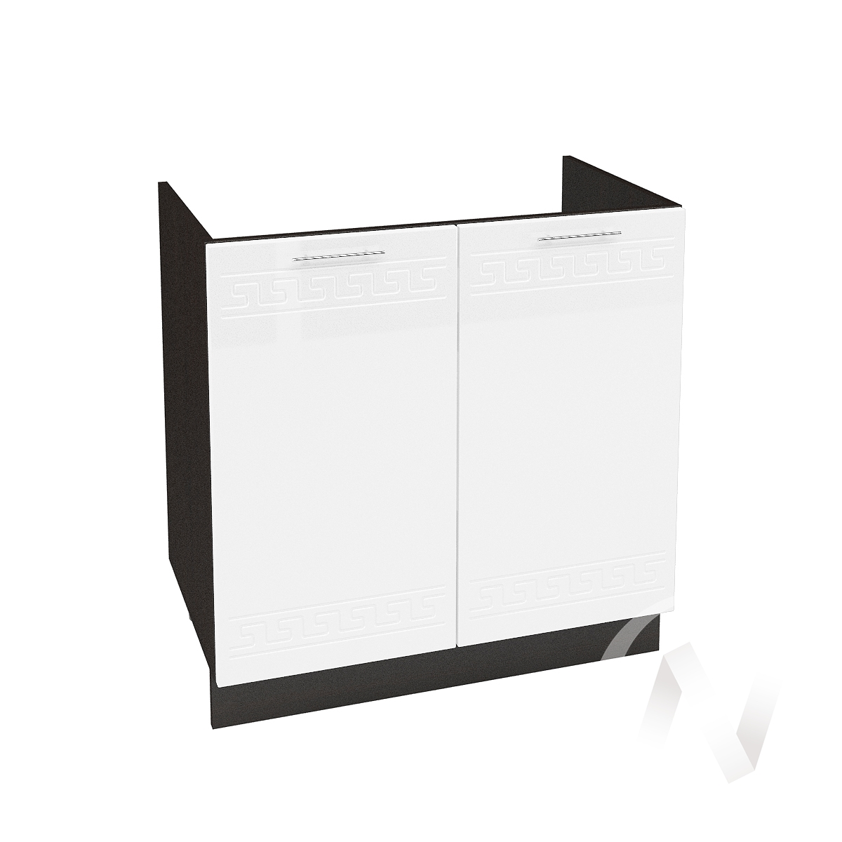 "Кухня ""Греция"": Шкаф нижний под мойку 800, ШНМ 800 (белый металлик/корпус венге)"