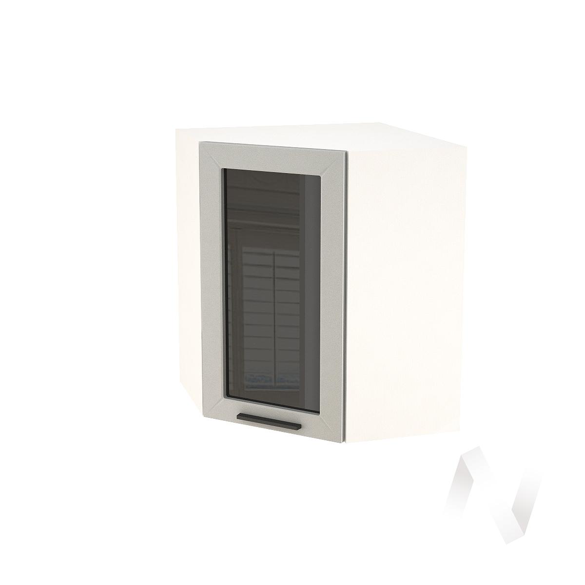 """Кухня """"Глетчер"""": Шкаф верхний угловой со стеклом 590, ШВУС 590 (Гейнсборо силк/корпус белый)"""