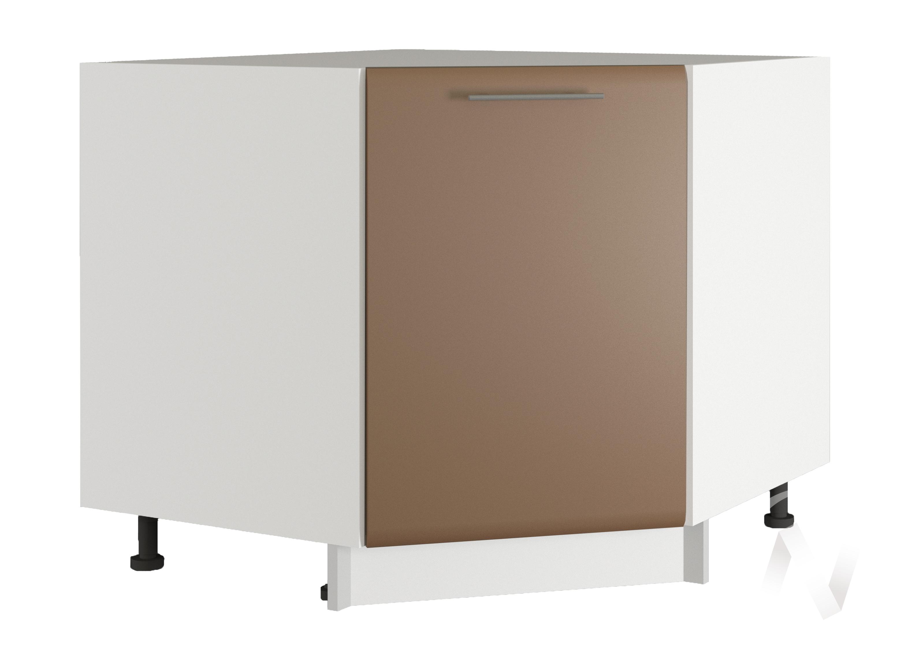 """Кухня """"Люкс"""": Шкаф нижний угловой 890, ШНУ 890 (Шоколад матовый/корпус белый)"""