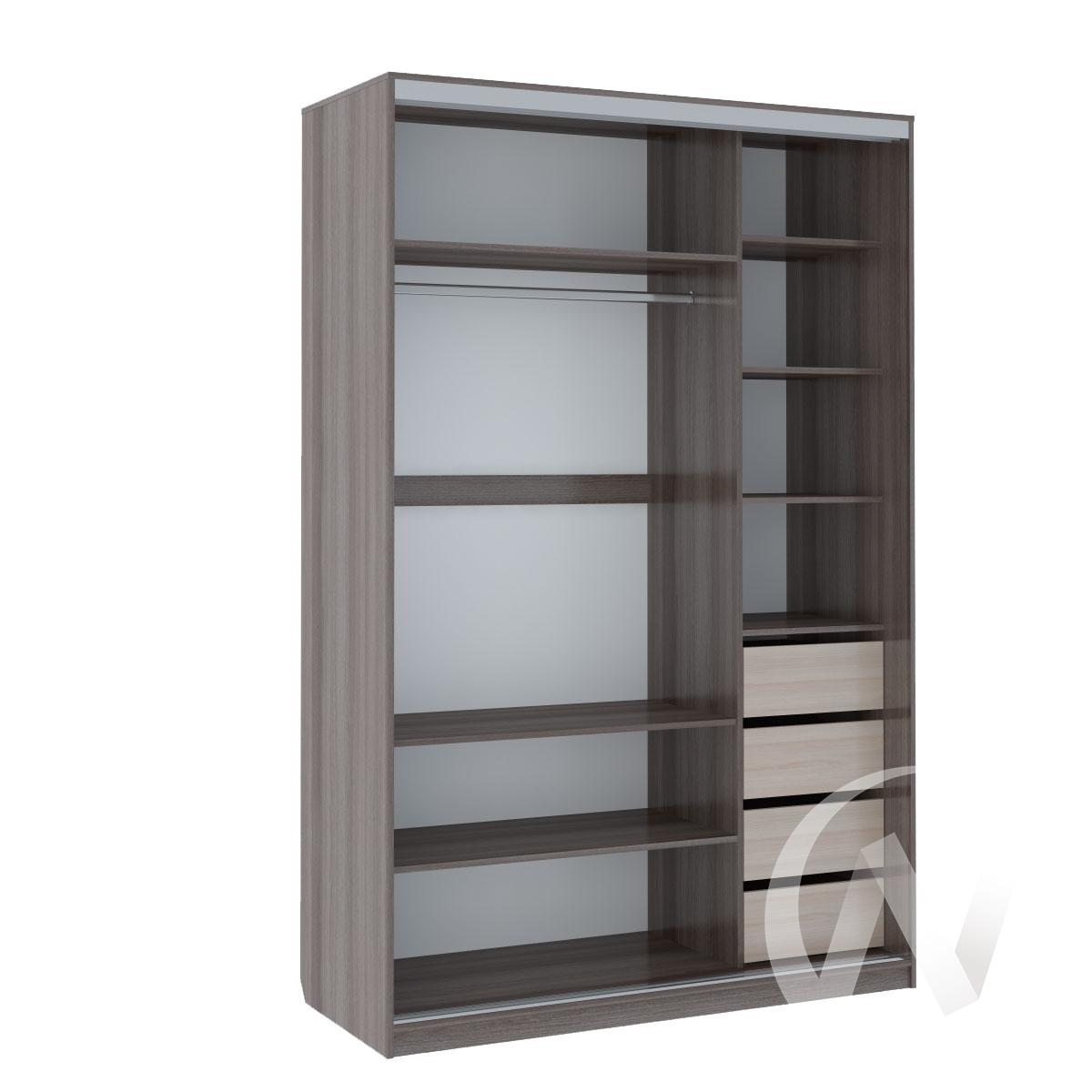 Шкаф-купе «Рене» 2-х дверный Витрина (ясень шимо темный/венге)  в Томске — интернет магазин МИРА-мебель