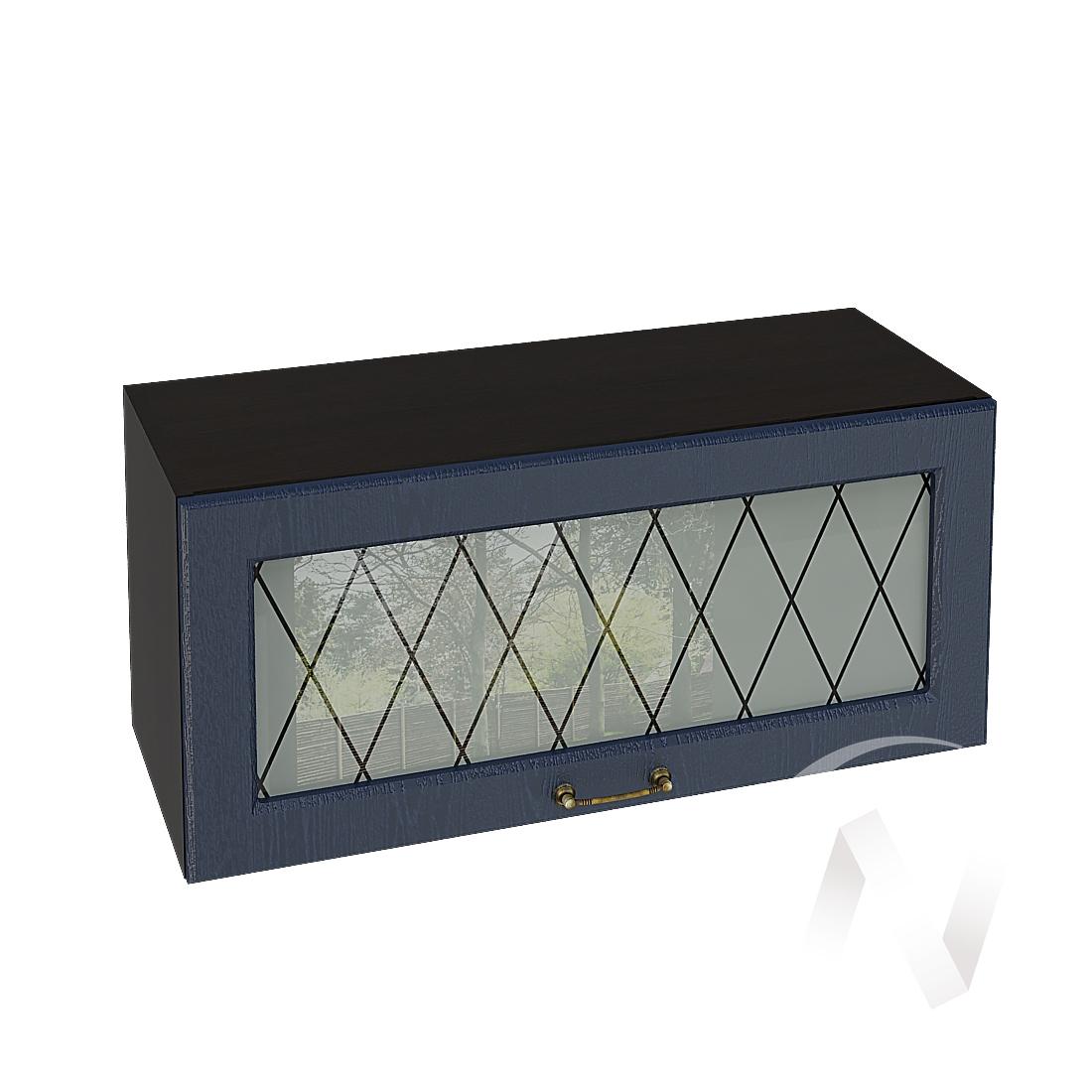 """Кухня """"Ницца"""": Шкаф верхний горизонтальный со стеклом 800, ШВГС 800 (Дуб чернильный/корпус венге)"""