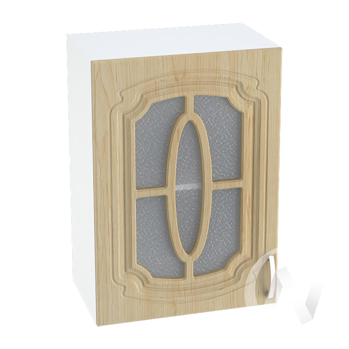 """Кухня """"Настя"""": Шкаф верхний со стеклом 500, ШВС 500 (Береза/корпус белый)"""