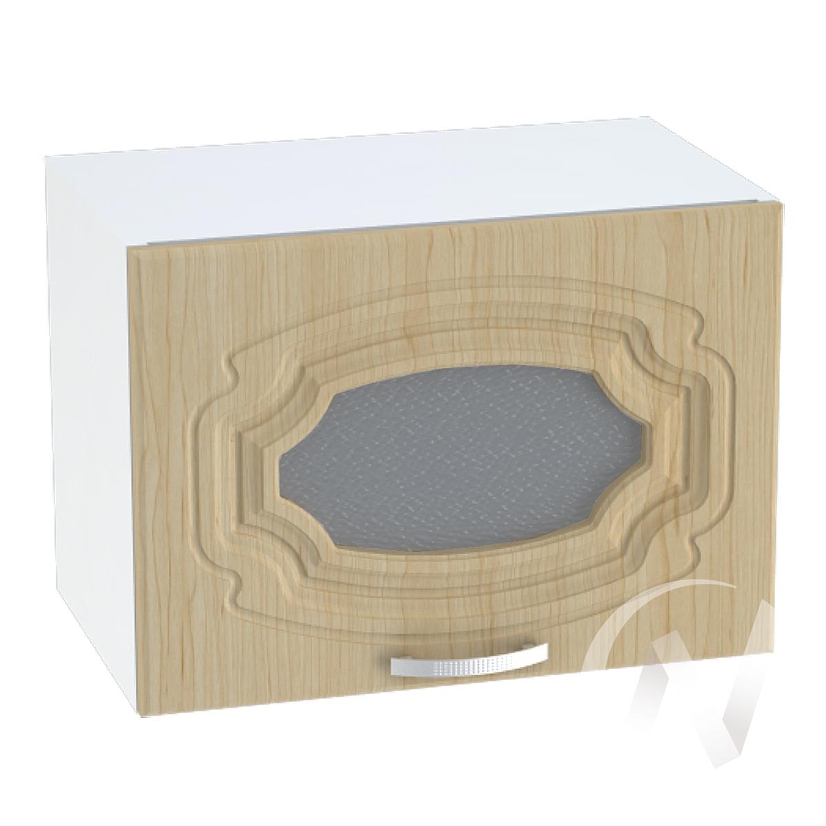 """Кухня """"Настя"""": Шкаф верхний горизонтальный со стеклом 509, ШВГС 509 (Береза/корпус белый)"""