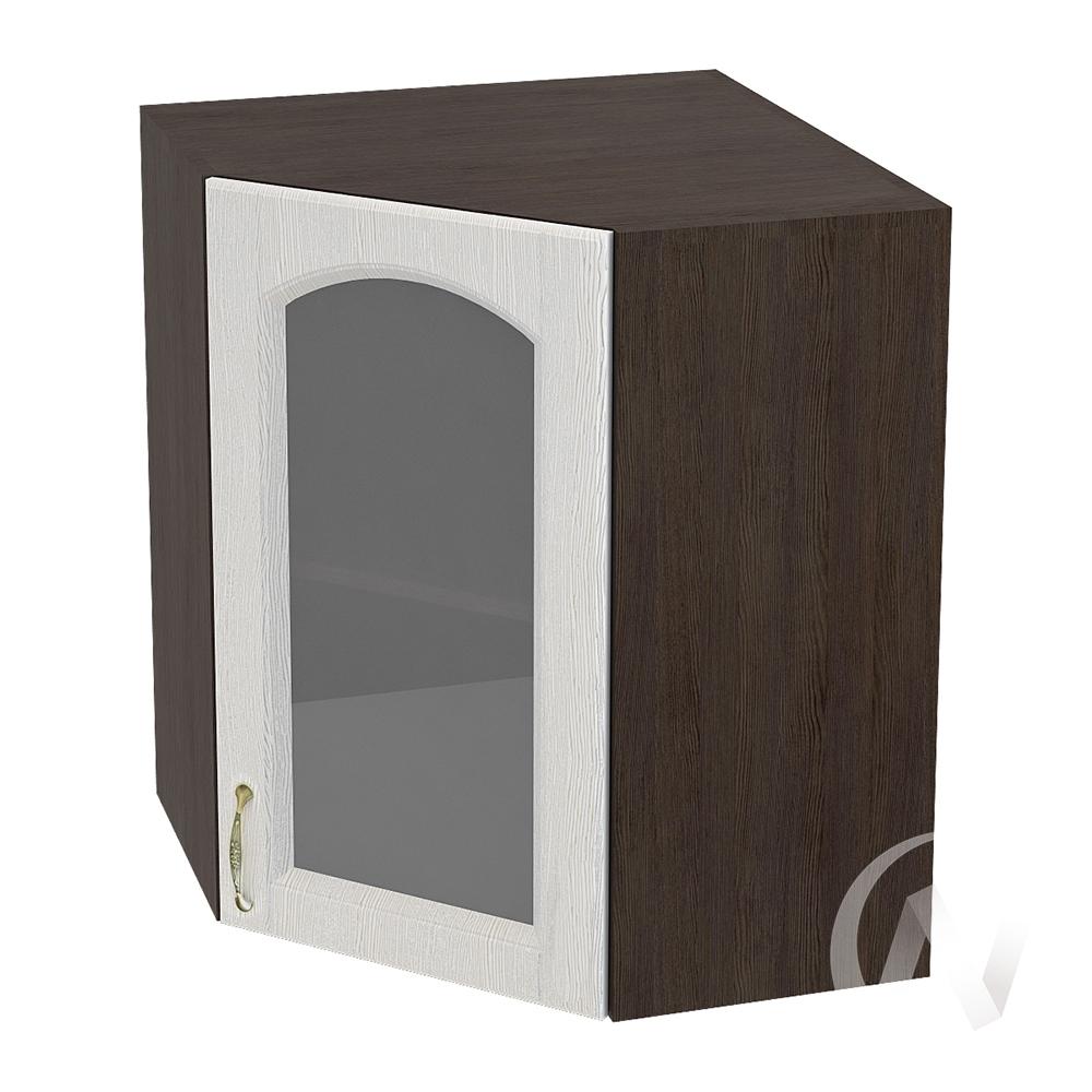 """Кухня """"Верона"""": Шкаф верхний угловой со стеклом 590 правый, ШВУС 590 (ясень золотистый/корпус венге)"""