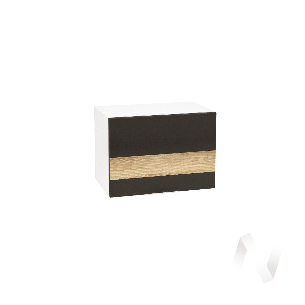 """Кухня """"Терра"""": Шкаф верхний горизонтальный 500, ШВГ 500 (смоки софт/ель карпатская/корпус белый)"""