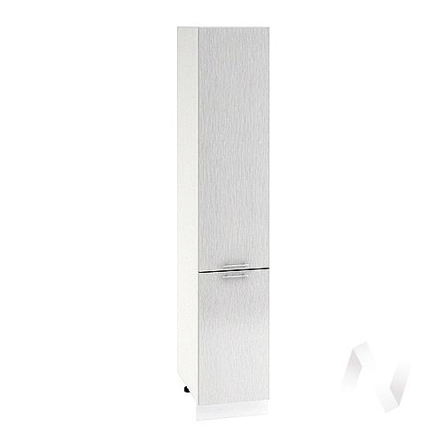 """Кухня """"Валерия-М"""": Шкаф пенал 400, ШП 400 (дождь серый/корпус белый)"""
