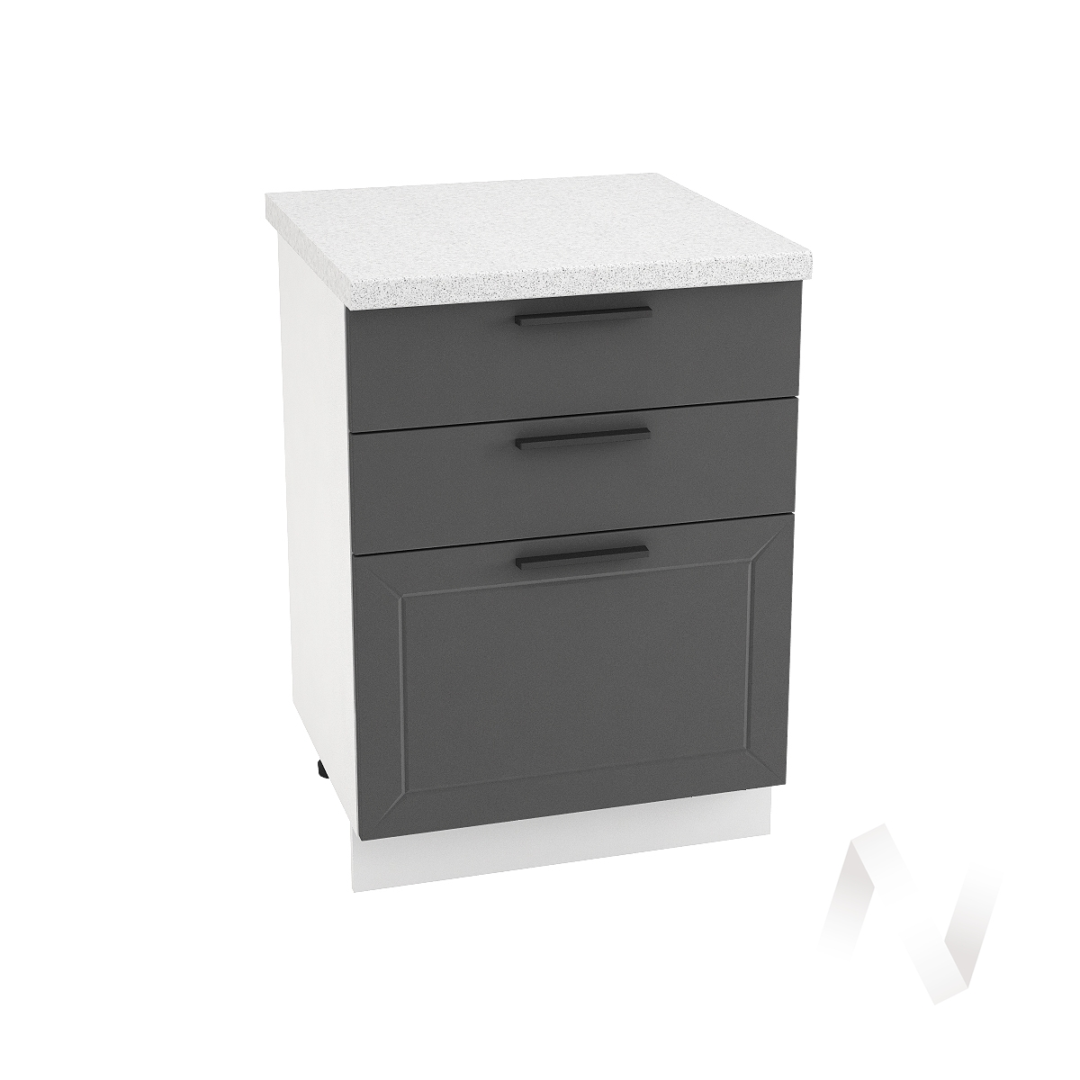 "Кухня ""Глетчер"": Шкаф нижний с 3-мя ящиками 600, ШН3Я 600 (Маренго силк/корпус белый)"