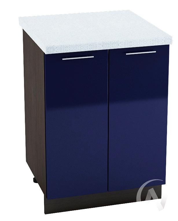 "Кухня ""Валерия-М"": Шкаф нижний 600, ШН 600 (Синий глянец/корпус венге)"