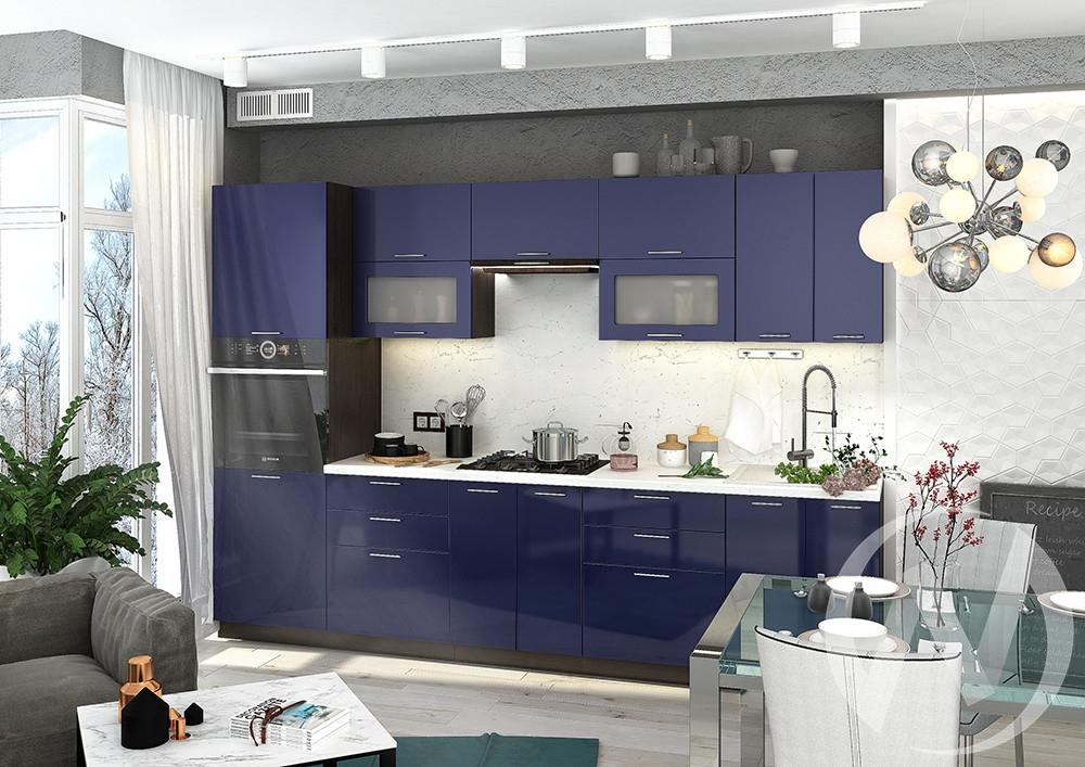"""Кухня """"Валерия-М"""": Синий глянец(корпус венге)"""