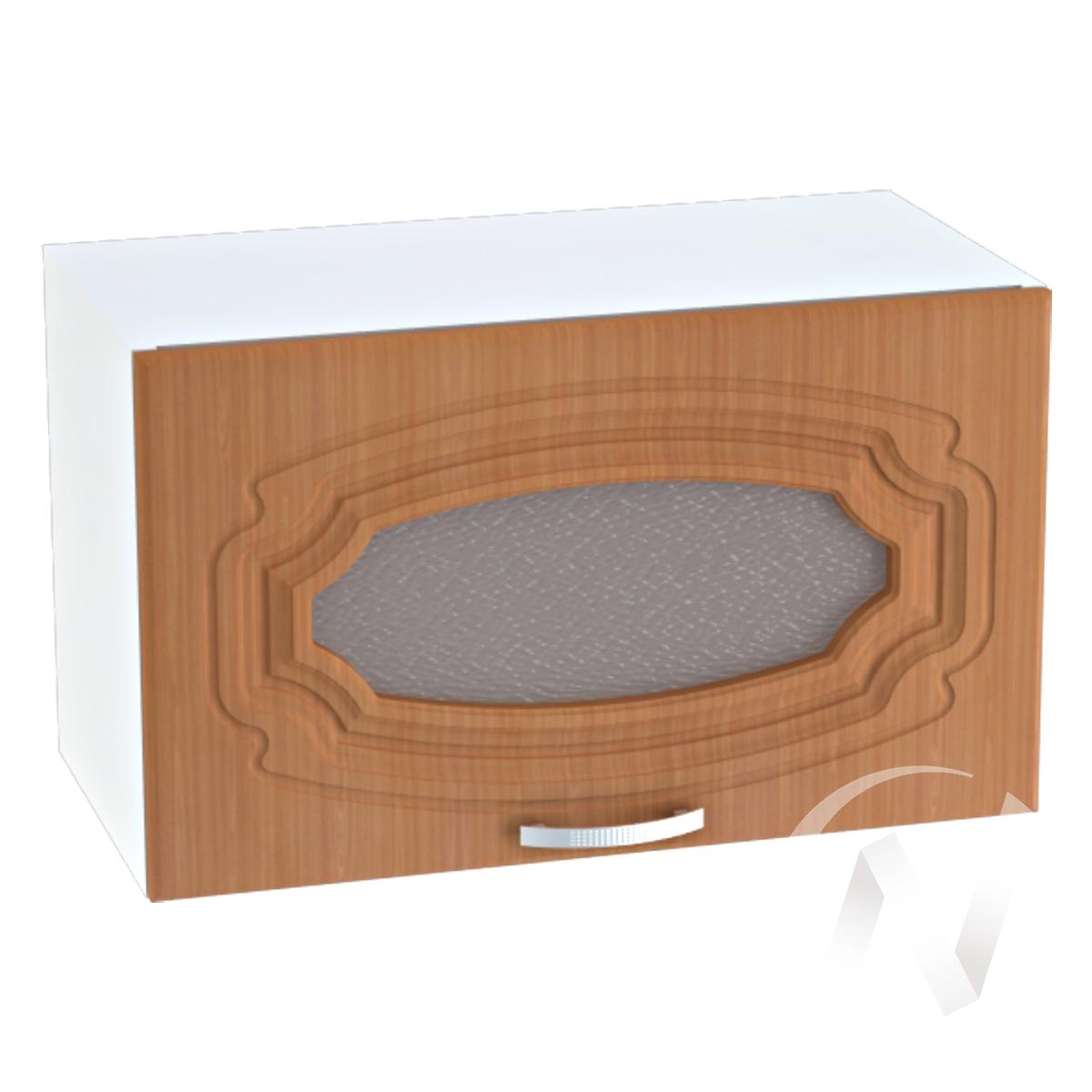 """Кухня """"Настя"""": Шкаф верхний горизонтальный со стеклом 609, ШВГС 609 (Орех миланский/корпус белый)"""