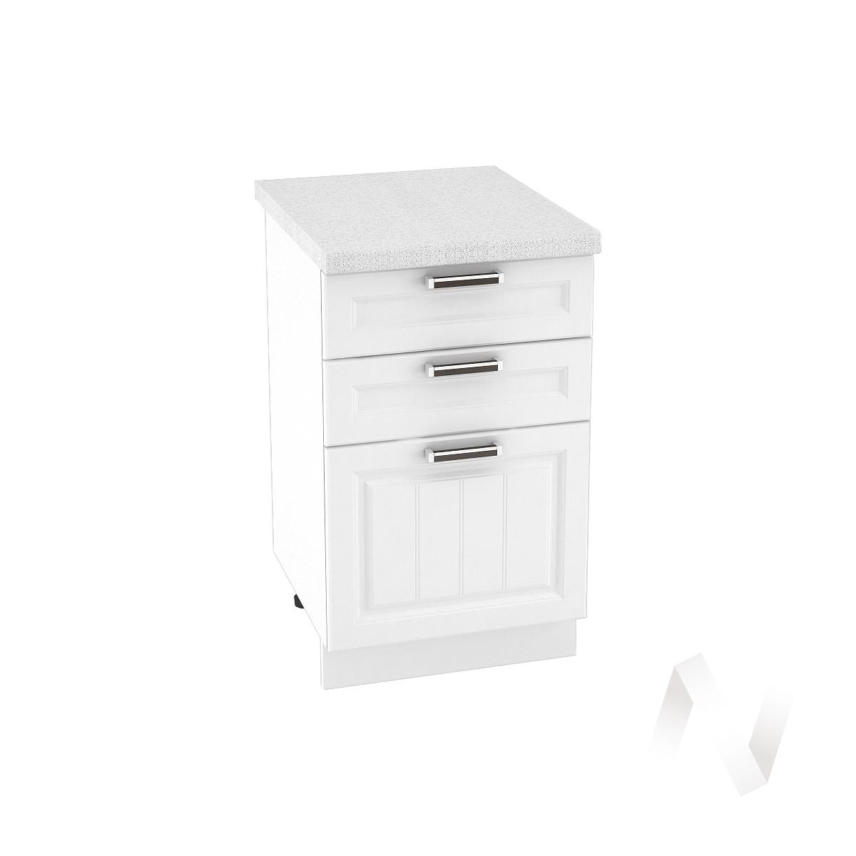 """Кухня """"Прага"""": Шкаф нижний с 3-мя ящиками 500, ШН3Я 500 (белое дерево/корпус белый)"""