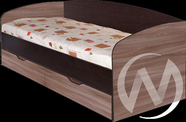 МС Статус М-24 Кровать 800*2000 с ящиками (венге-ясень шимо темный)