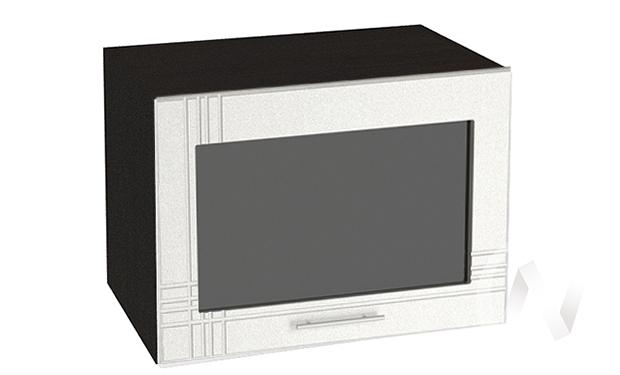 """Кухня """"Струна"""": Шкаф верхний горизонтальный со стеклом 500, ШВГС 500 (белый металлик/корпус венге)"""