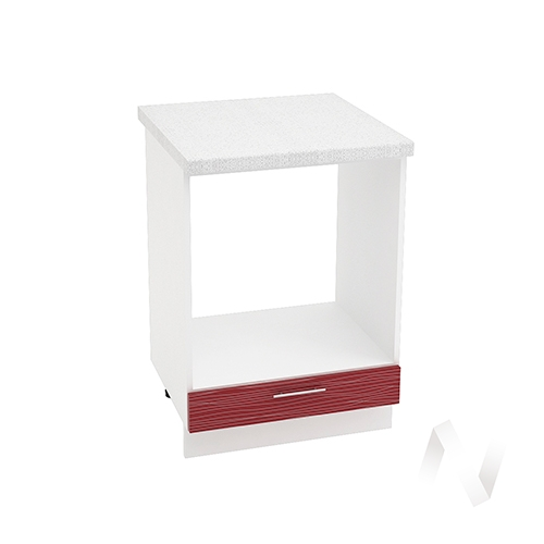 "Кухня ""Валерия-М"": Шкаф нижний под духовку 600, ШНД 600 (Страйп красный/корпус белый)"