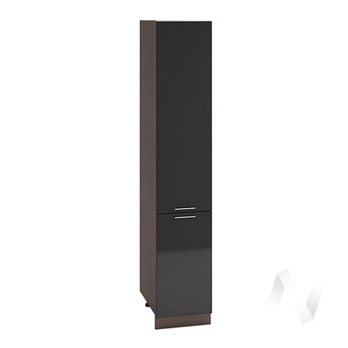"""Кухня """"Валерия-М"""": Шкаф пенал 400, ШП 400 (черный металлик/корпус венге)"""