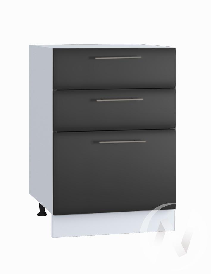 """Кухня """"Люкс"""": Шкаф нижний с 3-мя ящиками 500, ШН3Я 500 (Шелк венге/корпус белый)"""