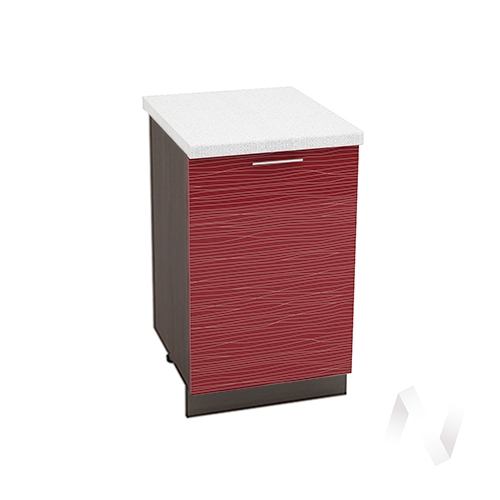 """Кухня """"Валерия-М"""": Шкаф нижний 500, ШН 500 (Страйп красный/корпус венге)"""