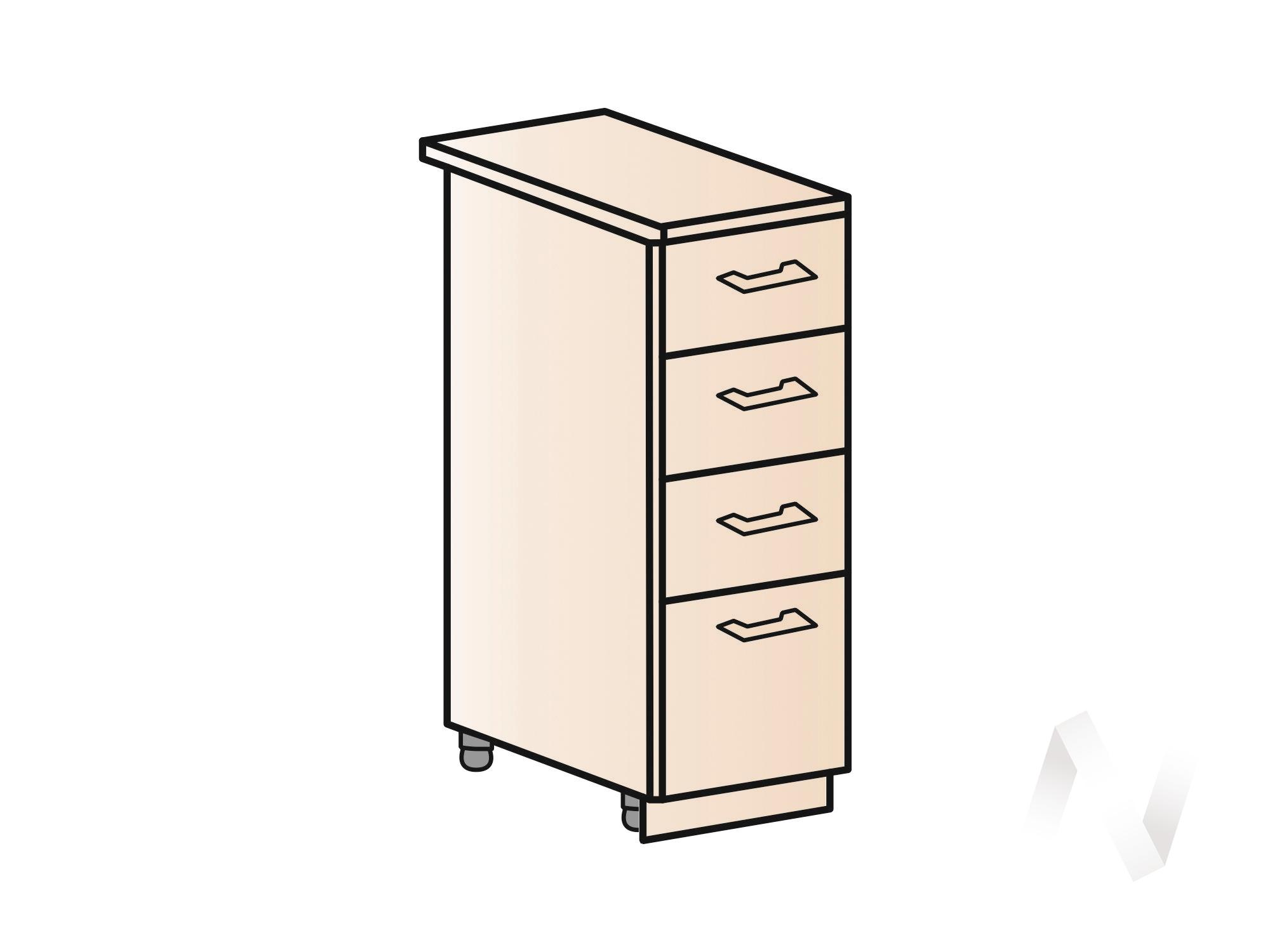 """Кухня """"Люкс"""": Шкаф нижний с 4-мя ящиками 300, ШН4Я 300 (Шоколад матовый/корпус белый) в Новосибирске в интернет-магазине мебели kuhnya54.ru"""