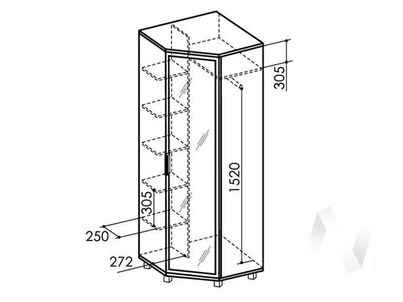 Шкаф угловой зеркало №8 WEST (ясень шимо темный/ясень шимо светлый)