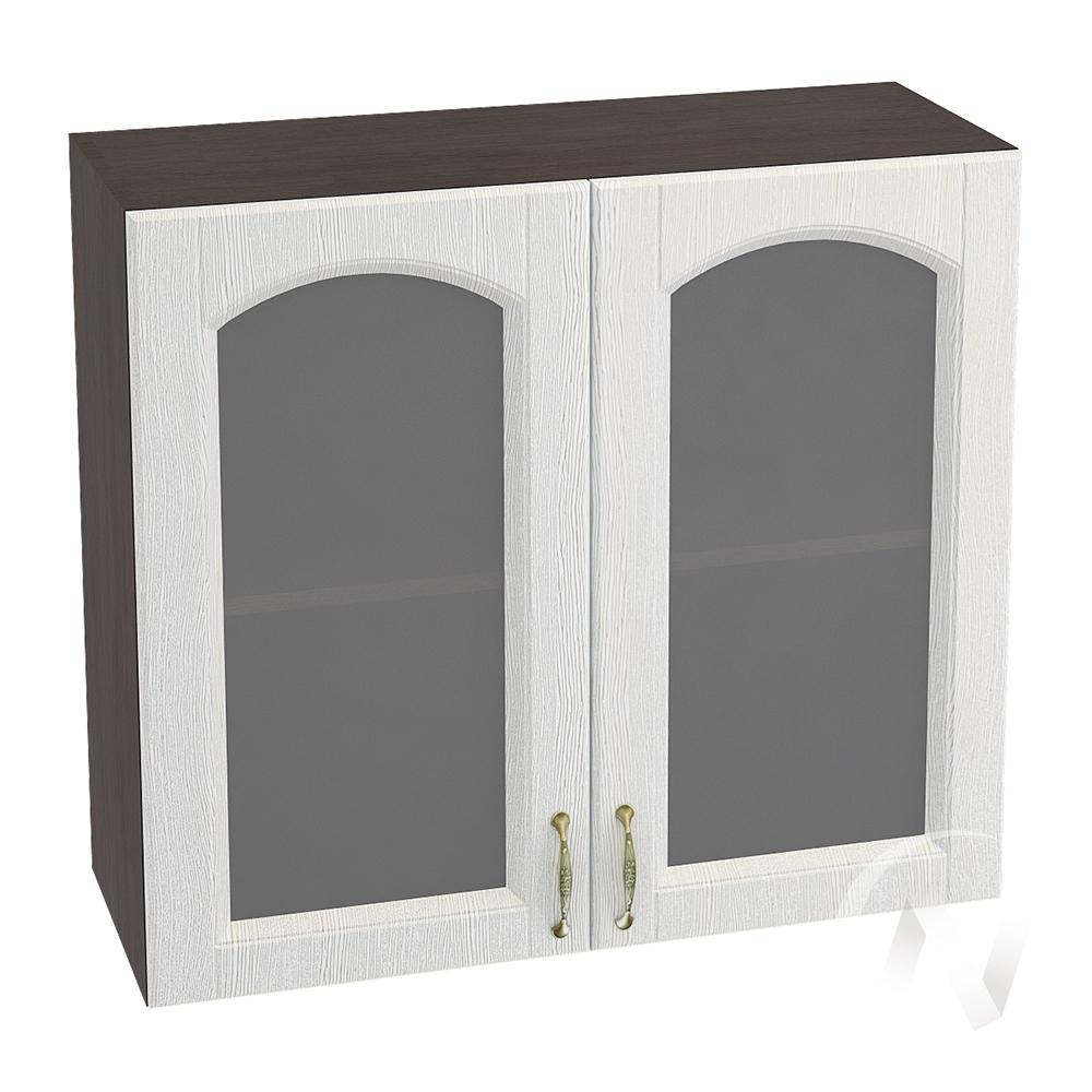 """Кухня """"Верона"""": Шкаф верхний со стеклом 800, ШВС 800 (ясень золотистый/корпус венге)"""