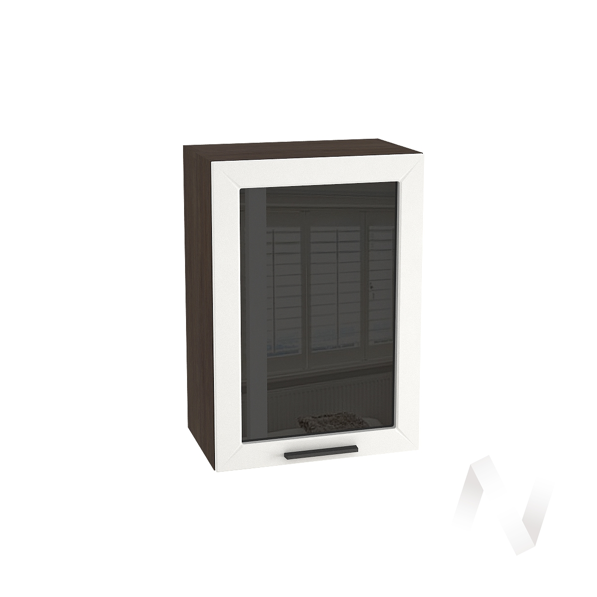 """Кухня """"Глетчер"""": Шкаф верхний со стеклом 500, ШВС 500 (Айленд Силк/корпус венге)"""