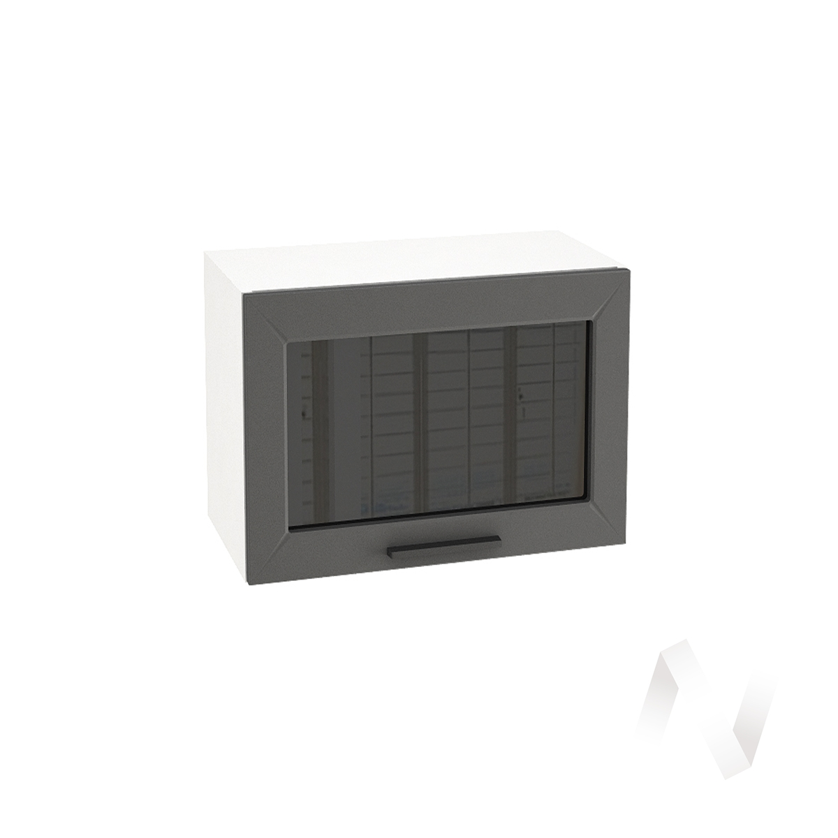 """Кухня """"Глетчер"""": Шкаф верхний горизонтальный со стеклом 609, ШВГС 609 (Маренго силк/корпус белый)"""