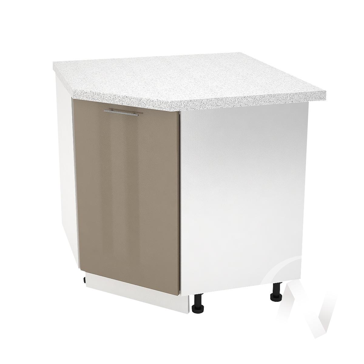 """Кухня """"Валерия-М"""": Шкаф нижний угловой 890, ШНУ 890 (Капучино глянец/корпус белый)"""