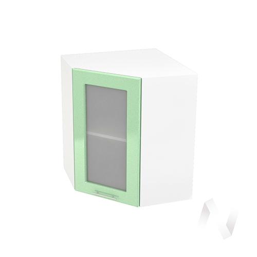 """Кухня """"Вега"""": Шкаф верхний угловой со стеклом 590, ШВУС 590 (салатовый металлик/корпус белый)"""