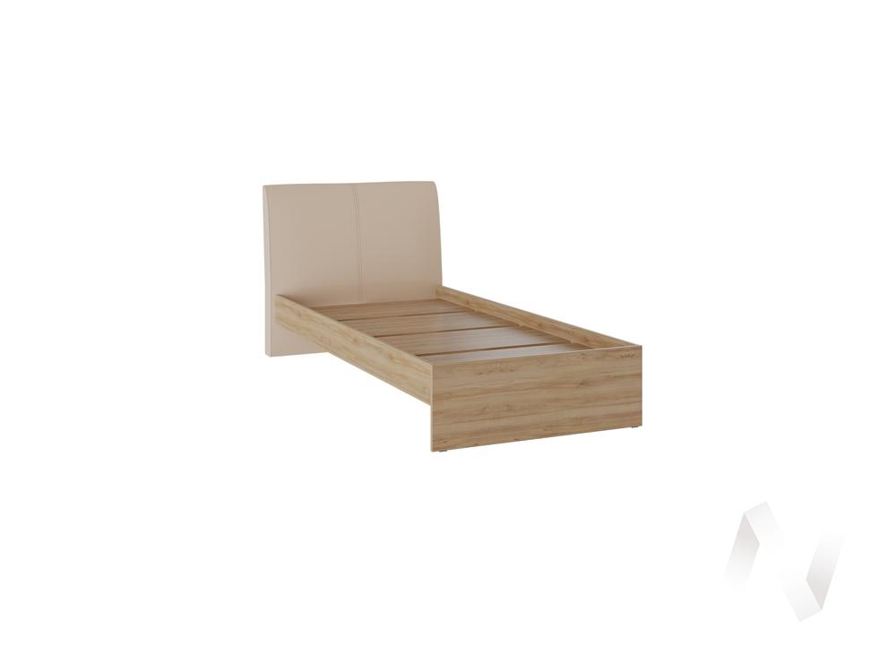 Кровать Доминика 1,2 основание ЛДСП (дуб крафт золотой/кожзам бежевый)