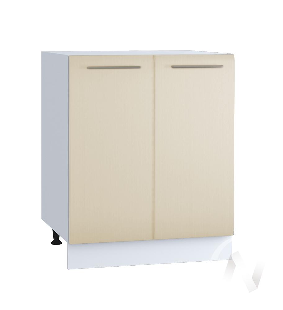 "Кухня ""Люкс"": Шкаф нижний 600, ШН 600 (Шелк жемчуг/корпус белый)"