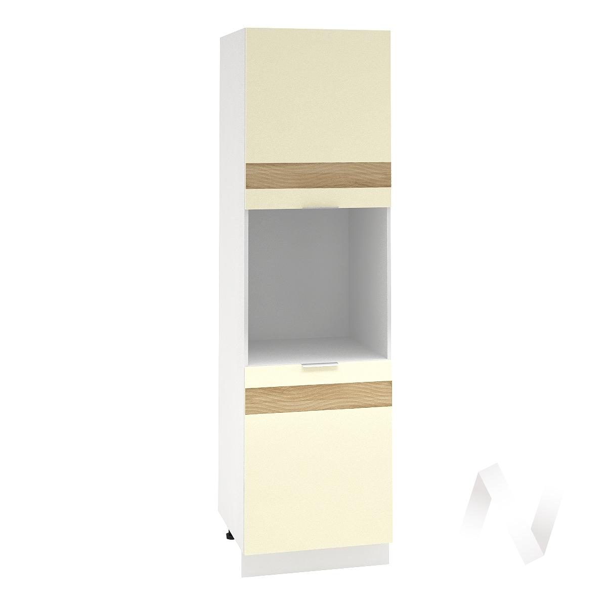 """Кухня """"Терра"""": Шкаф пенал левый 600, ШП 600 (ваниль софт/корпус белый)"""