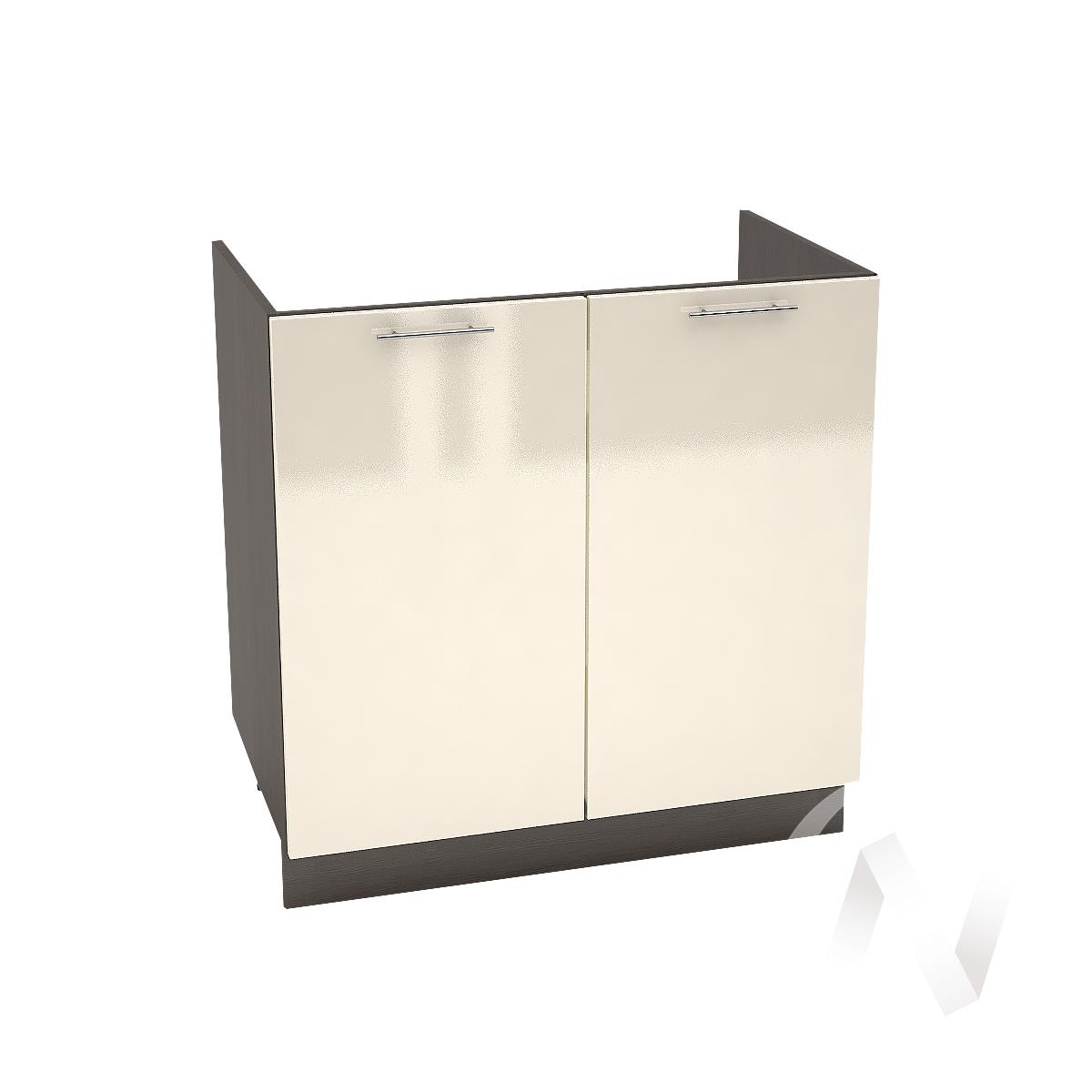 "Кухня ""Валерия-М"": Шкаф нижний под мойку 800, ШНМ 800 (Ваниль глянец/корпус венге)"