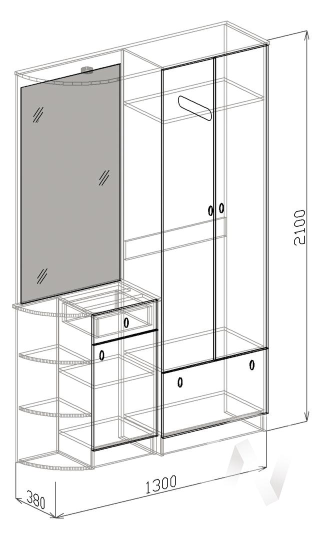 Прихожая София-1 левая (венге-белый дым)  в Томске — интернет магазин МИРА-мебель