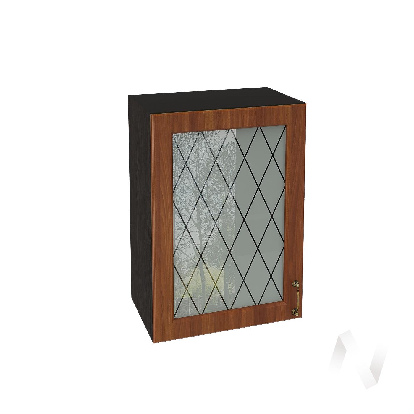 """Кухня """"Ницца"""": Шкаф верхний со стеклом 500, ШВС 500 (Орех/корпус венге)"""