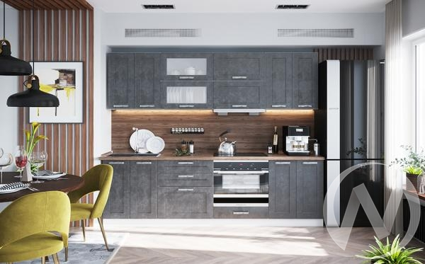 """Кухня """"Лофт"""": (Бетон графит/корпус белый)"""